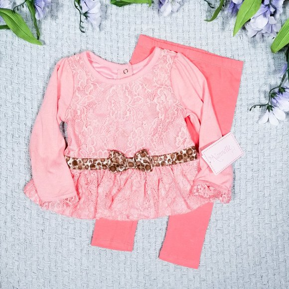 Nannette baby girl coral lace top/leggings outfit